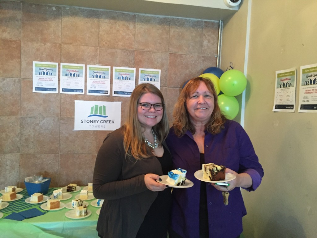 Emily (Leasing Admin) and Cindy (PM) at the Grand Opening of Stoney Creek Towers!